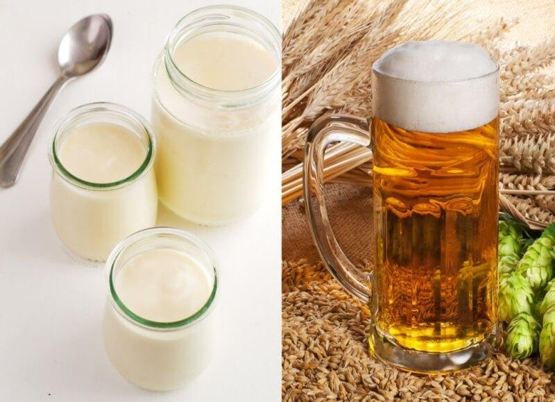 Se khít lỗ chân lông khi dùng chung bia và sữa chua