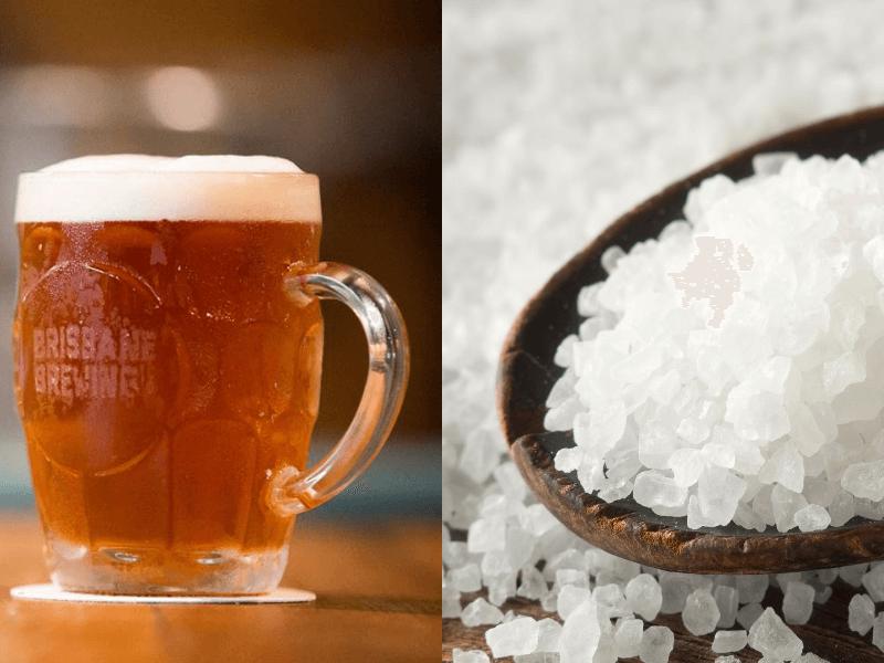 Trị mụn lưng bằng cách hòa chung giữa bia và muối biển
