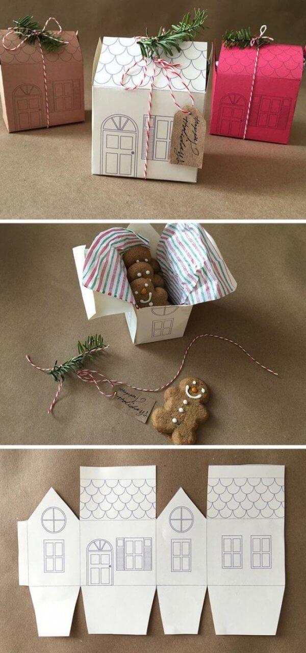 Cách gói hộp quà sinh nhật bằng ngôi nhà mini bằng giấy