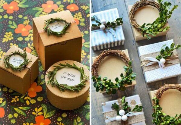 Cách gói quà sinh nhật với vòng hoa mini màu xanh lá cây