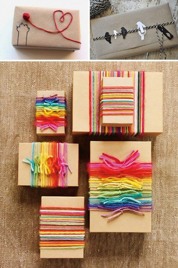 Dùng chỉ màu để trang trí như ruy băng gói quà sinh nhật