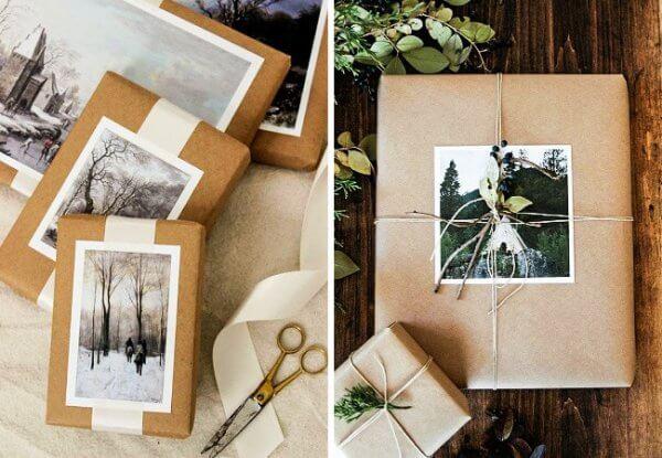 Sử dụng hình ảnh và bưu thiếp như đồ gói quà trang trí sinh nhật ấn tượng