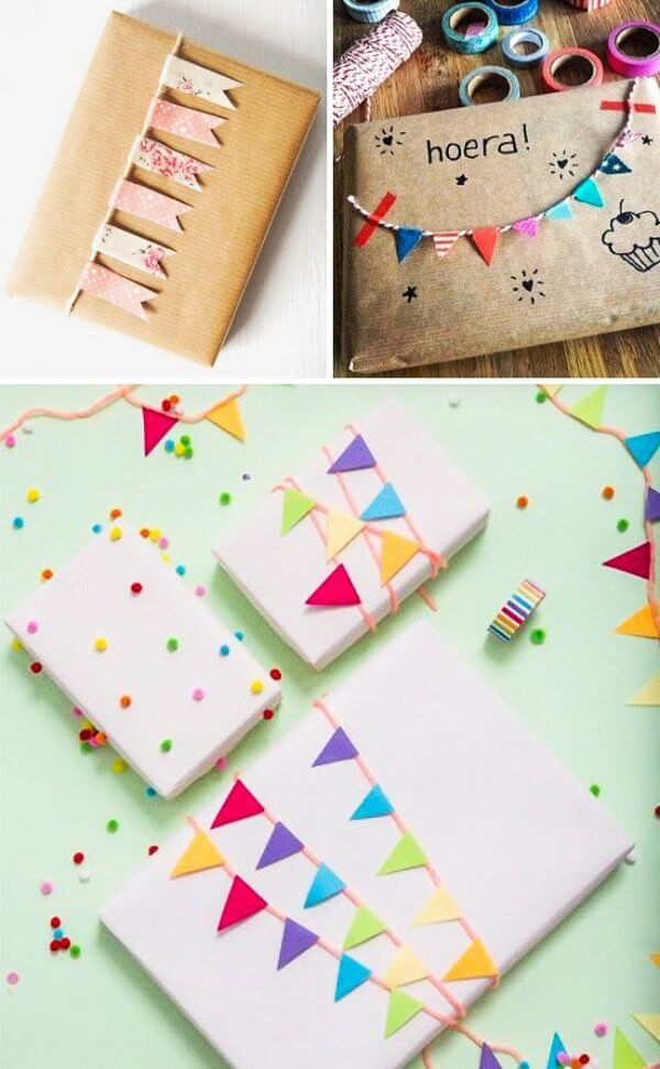 Trang trí gói quà sinh nhật với những lá cờ tí hon thú vị