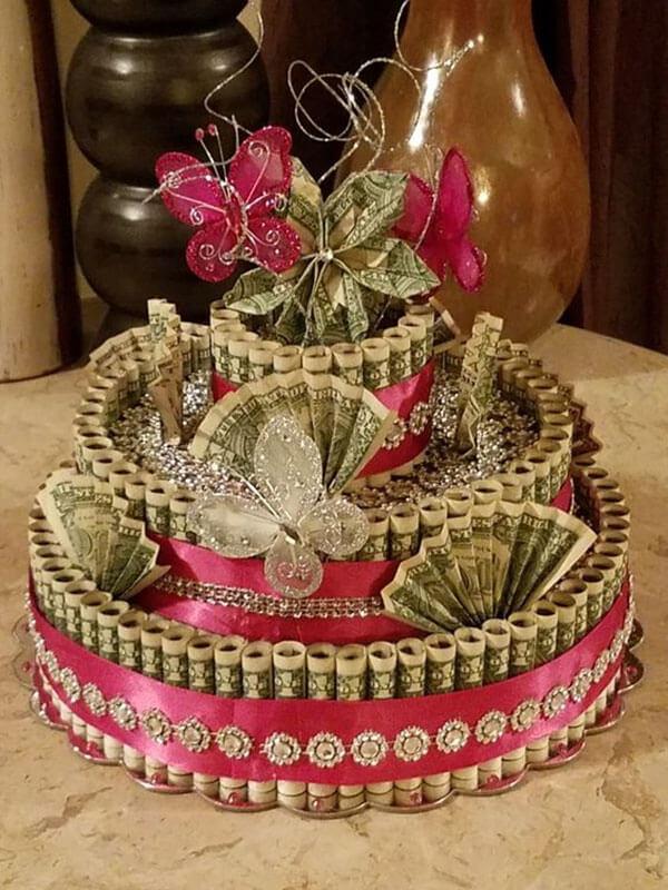 Bánh sinh nhật bằng tiền đô đẹp