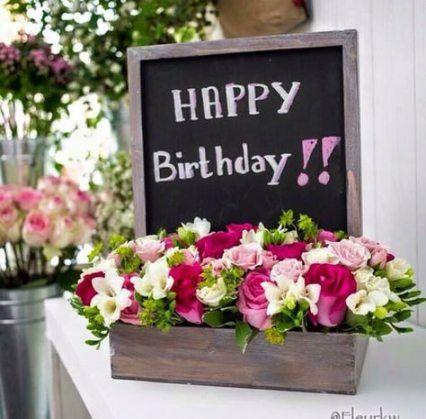 Ảnh hoa sinh nhật độc đáo với lời chúc dễ thương