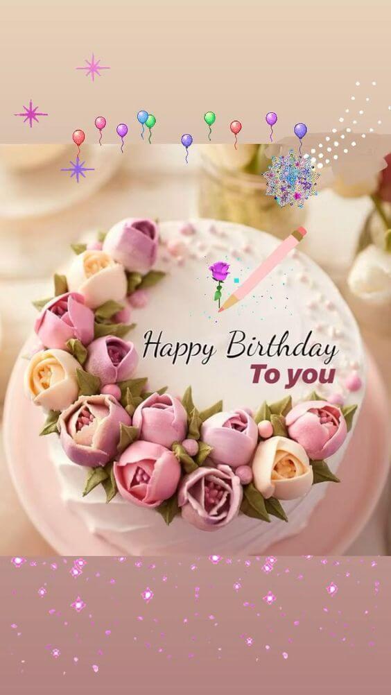 Hình ảnh sinh nhật dễ thương với hoa và bánh kem