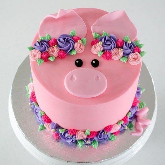 Bánh kem sinh nhật tuổi hợi dễ thương