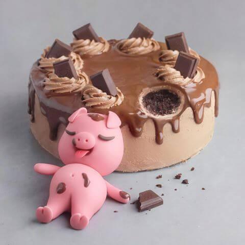 Bánh sinh nhật hình con heo cực kì dễ thương