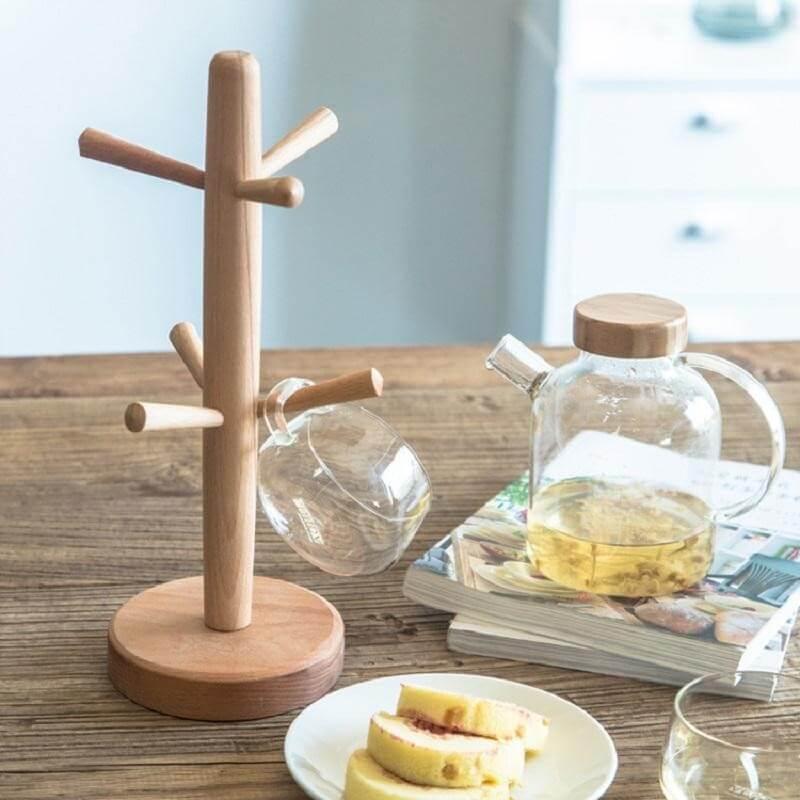 Giá treo bằng gỗ đựng cốc, ly độc đáo sang trọng