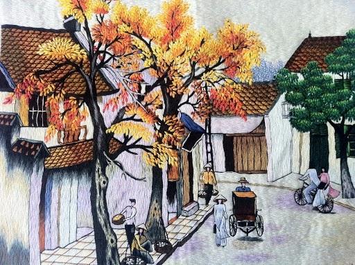 Màu sắc ấn tượng trong những bức tranh thêu cảnh phố cổ Hà Nội
