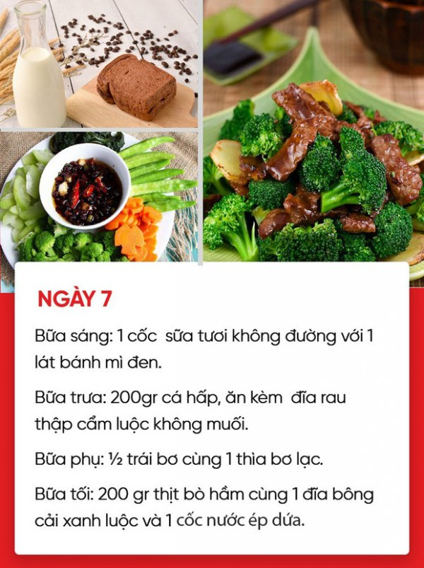 Ngày 7 - Giảm cân bằng thực đơn với rau luộc và cá hấp