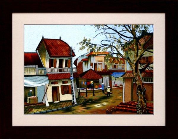 Mẫu tranh thêu đẹp về khu làng nghề đặc trưng trong tranh thêu về Hà Nội
