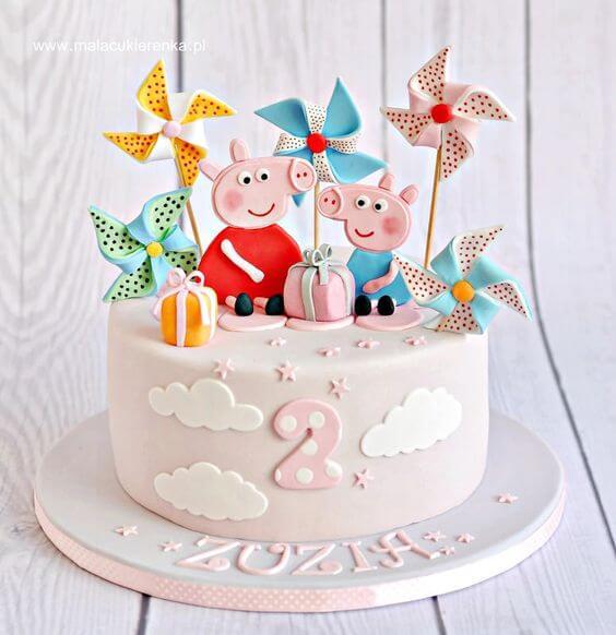 Tải hình ảnh sinh nhật với chiếc bánh kem peppa pig