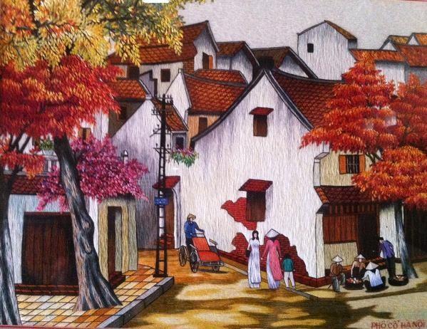 Những bức tranh thêu đẹp nhất hiện nay về phố cổ Hà Nội