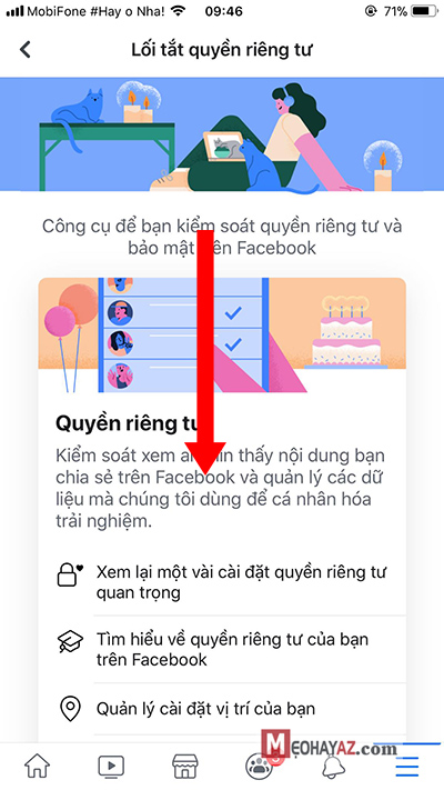 Bước 3 đặt lại mật khẩu facebook - Di chuyển xuống giữa màn hình