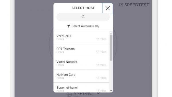 Chọn nhà mạng mà bạn đang sử dụng như viettel, vnpt, fpt,.. để kiểm tra tốc độ