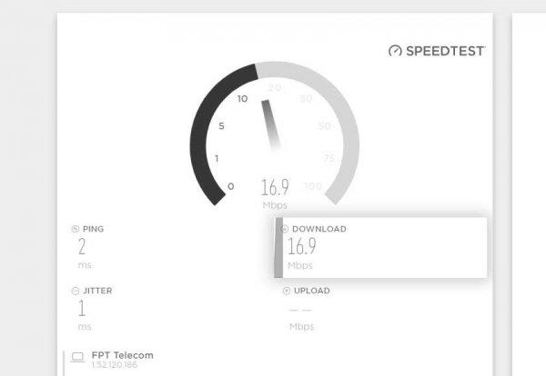Và cuối cùng là kết quả cũng như trang Speedtest - test speed wifi