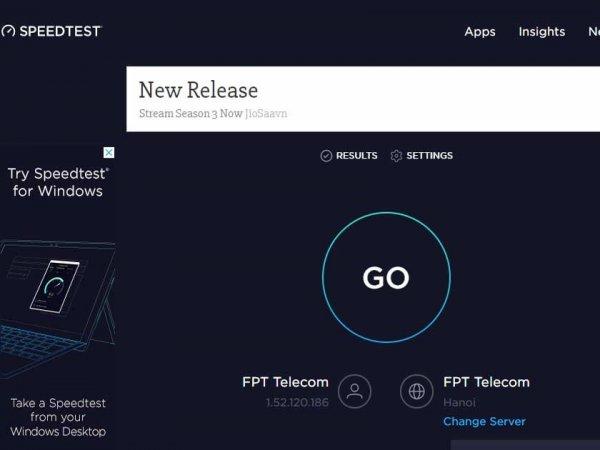 Vào speedtest.com xong bấm vào GO - Bước 1 Internet test speed