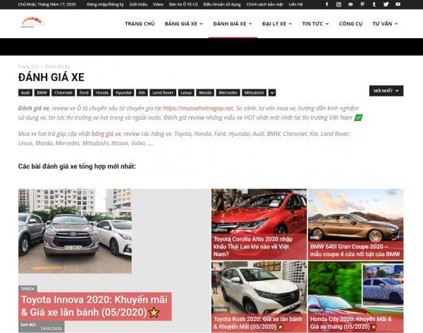 Phần đánh giá xe của website