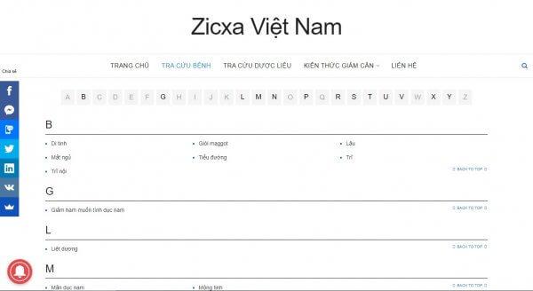 Zicxa tra cứu bệnh