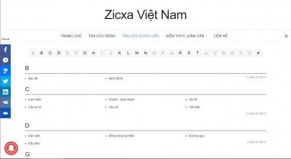 Zicxa tra cứu dược liệu
