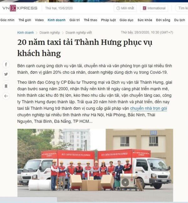 Dịch vụ vận chuyển nhà Thành Hưng có trên vnexpress