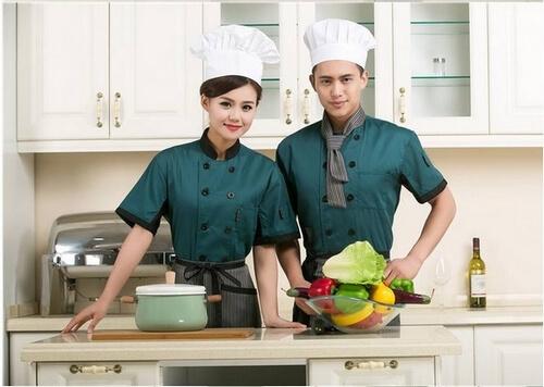 Đồng phục màu xanh hiện đại cho nhân viên bếp