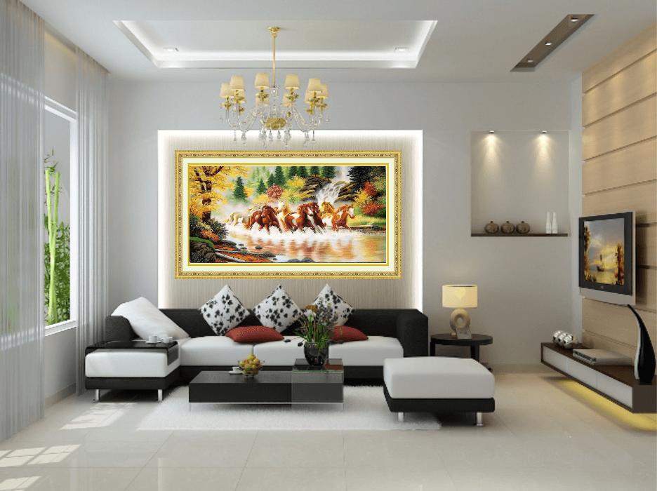Trang trí nội thất phòng khách với tranh phong cảnh treo tường
