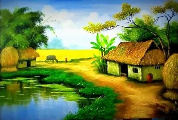 Tranh phong cảnh đồng quê yên bình