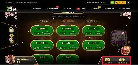 Bạn hãy lựa chọn bàn chơi phù hợp với số tiền cược của mình