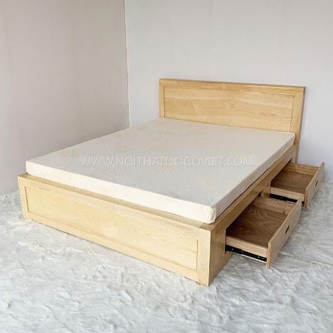 Mẫu giường ngủ hiện đại sồi Nga gọn nhẹ