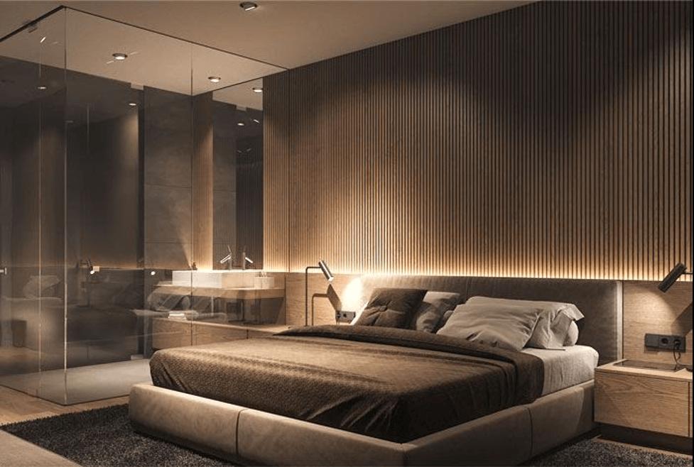 Phòng ngủ thật ấn tượng với sự kết hợp giữa chiếu sáng trực tiếp và gián tiếp