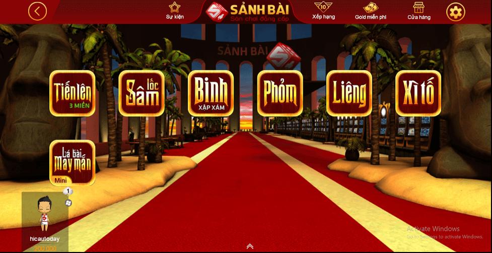 Giao diện chính của Sanhbai com