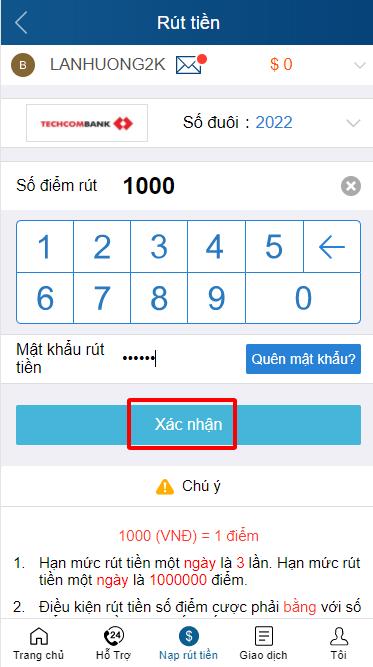 Nhập mật khẩu để rút tiền từ trang KUBET